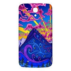 Psychedelic Colorful Lines Nature Mountain Trees Snowy Peak Moon Sun Rays Hill Road Artwork Stars Samsung Galaxy Mega I9200 Hardshell Back Case