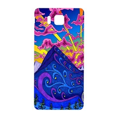 Psychedelic Colorful Lines Nature Mountain Trees Snowy Peak Moon Sun Rays Hill Road Artwork Stars Samsung Galaxy Alpha Hardshell Back Case