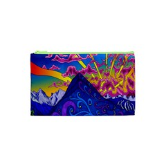 Psychedelic Colorful Lines Nature Mountain Trees Snowy Peak Moon Sun Rays Hill Road Artwork Stars Cosmetic Bag (XS)
