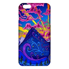 Psychedelic Colorful Lines Nature Mountain Trees Snowy Peak Moon Sun Rays Hill Road Artwork Stars iPhone 6 Plus/6S Plus TPU Case