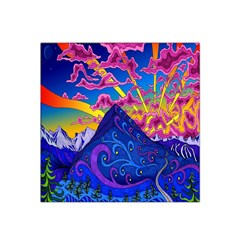 Psychedelic Colorful Lines Nature Mountain Trees Snowy Peak Moon Sun Rays Hill Road Artwork Stars Satin Bandana Scarf