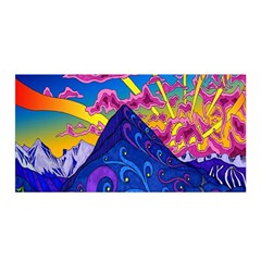Psychedelic Colorful Lines Nature Mountain Trees Snowy Peak Moon Sun Rays Hill Road Artwork Stars Satin Wrap