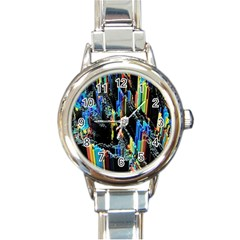 Abstract 3d Blender Colorful Round Italian Charm Watch