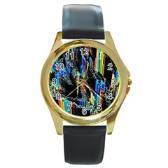 Abstract 3d Blender Colorful Round Gold Metal Watch