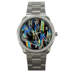 Abstract 3d Blender Colorful Sport Metal Watch