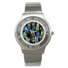 Abstract 3d Blender Colorful Stainless Steel Watch