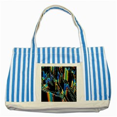 Abstract 3d Blender Colorful Striped Blue Tote Bag