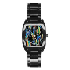 Abstract 3d Blender Colorful Stainless Steel Barrel Watch