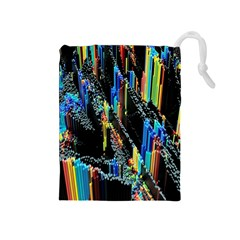 Abstract 3d Blender Colorful Drawstring Pouches (Medium)