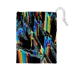 Abstract 3d Blender Colorful Drawstring Pouches (Large)