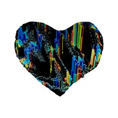 Abstract 3d Blender Colorful Standard 16  Premium Flano Heart Shape Cushions