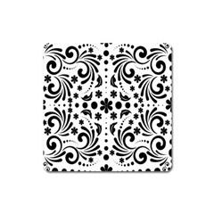 Leaf Flower Floral Black Square Magnet