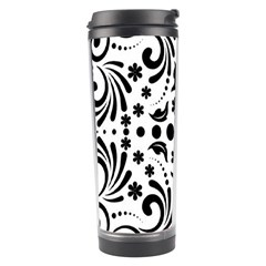Leaf Flower Floral Black Travel Tumbler