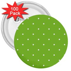 Mages Pinterest Green White Polka Dots Crafting Circle 3  Buttons (100 Pack)