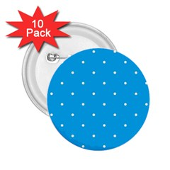 Mages Pinterest White Blue Polka Dots Crafting Circle 2 25  Buttons (10 Pack)