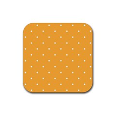 Mages Pinterest White Orange Polka Dots Crafting Rubber Square Coaster (4 Pack)