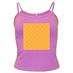 Mages Pinterest White Orange Polka Dots Crafting Dark Spaghetti Tank