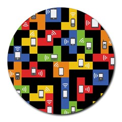 Mobile Phone Signal Color Rainbow Round Mousepads