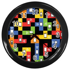 Mobile Phone Signal Color Rainbow Wall Clocks (black)