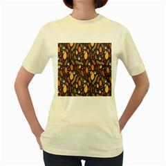 Macaroons Autumn Wallpaper Coffee Women s Yellow T Shirt