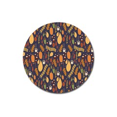 Macaroons Autumn Wallpaper Coffee Magnet 3  (round)