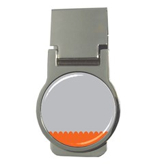 Orange Gray Scallop Wallpaper Wave Money Clips (round)
