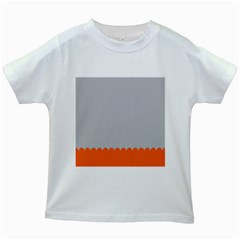 Orange Gray Scallop Wallpaper Wave Kids White T Shirts