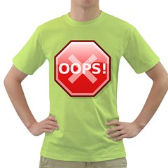 Oops Stop Sign Icon Green T Shirt