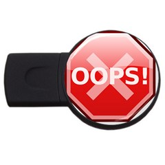 Oops Stop Sign Icon Usb Flash Drive Round (2 Gb)