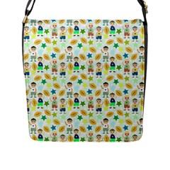 Kids Football Sport Ball Star Flap Messenger Bag (l)