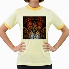 Abstract Fractal Women s Fitted Ringer T Shirts
