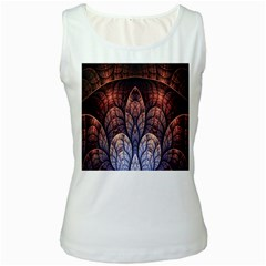 Abstract Fractal Women s White Tank Top