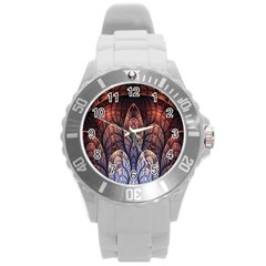 Abstract Fractal Round Plastic Sport Watch (L)