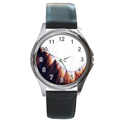 Abstract Lines Round Metal Watch