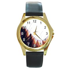 Abstract Lines Round Gold Metal Watch
