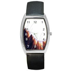 Abstract Lines Barrel Style Metal Watch