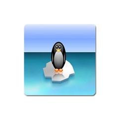 Penguin Ice Floe Minimalism Antarctic Sea Square Magnet