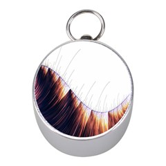Abstract Lines Mini Silver Compasses