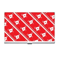 Panda Bear Face Line Red White Business Card Holders
