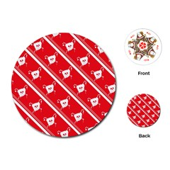 Panda Bear Face Line Red White Playing Cards (round)