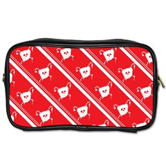 Panda Bear Face Line Red White Toiletries Bags 2 Side