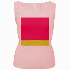 Pink Yellow Scallop Wallpaper Wave Women s Pink Tank Top