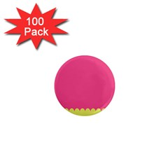 Pink Yellow Scallop Wallpaper Wave 1  Mini Magnets (100 Pack)