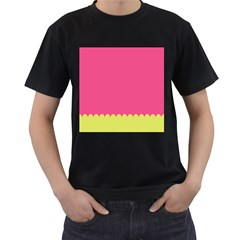 Pink Yellow Scallop Wallpaper Wave Men s T Shirt (black) (two Sided)