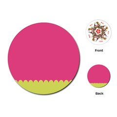Pink Yellow Scallop Wallpaper Wave Playing Cards (round)