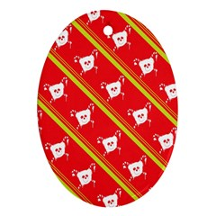 Panda Bear Face Line Red Yellow Ornament (oval)