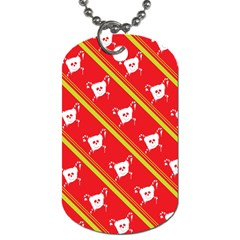 Panda Bear Face Line Red Yellow Dog Tag (two Sides)