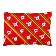 Panda Bear Face Line Red Yellow Pillow Case (two Sides)