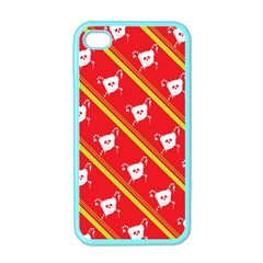 Panda Bear Face Line Red Yellow Apple Iphone 4 Case (color)