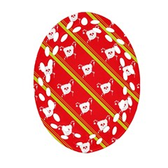 Panda Bear Face Line Red Yellow Ornament (oval Filigree)